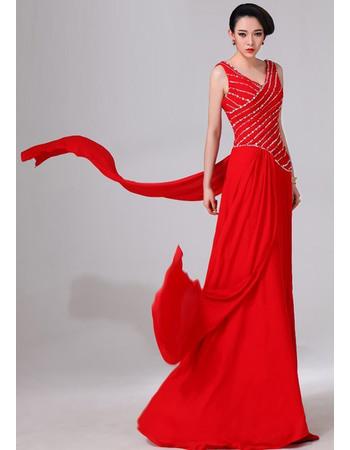Stunning V-neck Floor Length Chiffon Evening Party Dresses wtih Beading Embellished Bodice