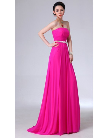 Classic Sheath Strapless Floor Length Chiffon Evening Party Dresses with Beaded Waist