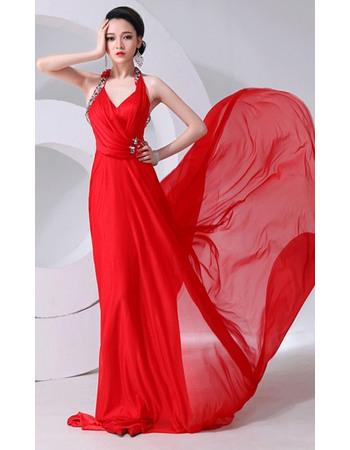 Formal Halter Chiffon Floor Length Sheath Evening/ Prom Dresses