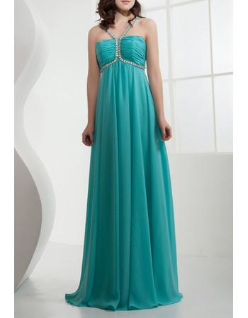 Foraml Chiffon Empire Spaghetti Straps Long Evening/ Prom Dresses