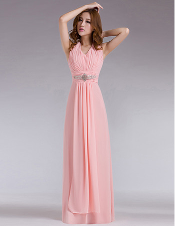 Graceful Sheath Halter-neck Pleated Chiffon Evening Party Dresses with Beading Waist