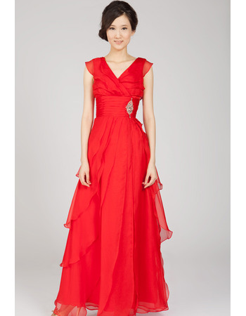 Pretty V-Neck Chiffon Evening Dresses with Layered Draped High-Low Skirt