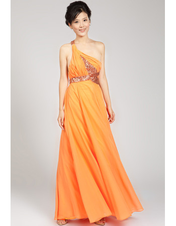 Perfect A-line One Shoulder Floor Length Chiffon Evening Dresses with Sequined Embellished