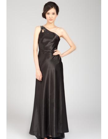 Sexy One Shoulder Black Satin Evening Dresses with Beading Embellished Detail