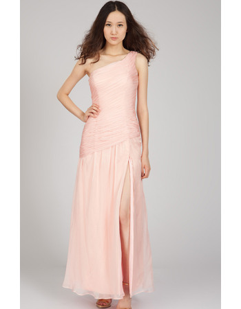 Simple & Sexy One Shoulder Chiffon Evening Dresses with Ruched Bodice and High-Leg Slit Skirt