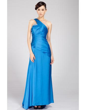 Unique One Shoulder Chiffon Floor Length Sheath Evening Dresses