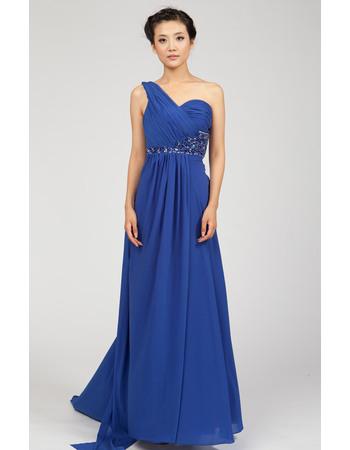 Gorgeous One Shoulder Chiffon Floor Length Empire Formal Evening Dresses