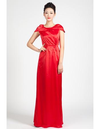 Elegant Column Full Length Satin Evening Dresses with Cap Sleeves and Beading Detail