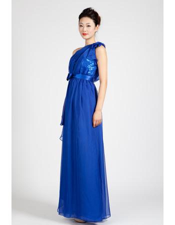 Custom One Shoulder Chiffon Column Floor Length Evening Dresses