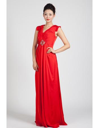 Foraml V-Neck Column/ Sheath Floor Length Chiffon Evening Dresses