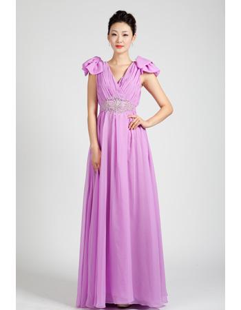 Classic Cap Sleeves Chiffon Floor Length A-Line Formal Evening Dresses