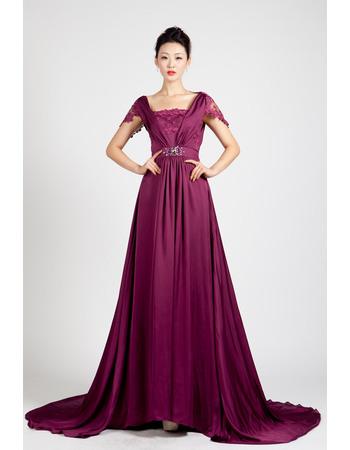Custom Cap Sleeves Chiffon Floor Length A-Line Evening Dresses