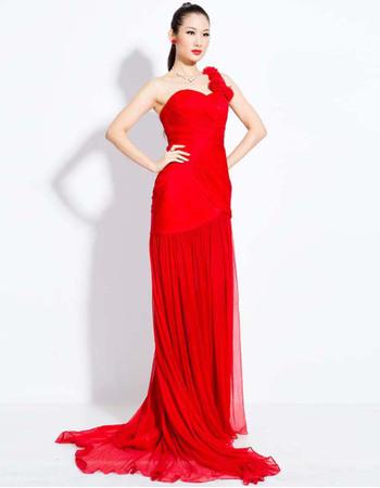 Elegant One Shoulder Chiffon Sheath Floor Length Evening Dresses