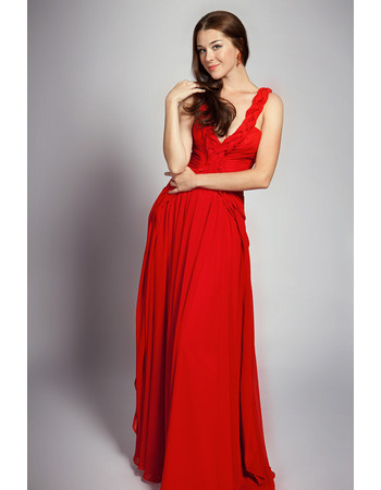 Stylish V-Neck Chiffon Floor Length A-Line Formal Evening Dresses