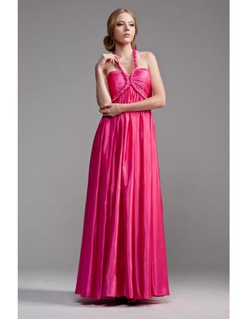 Beautiful Halter Empire Floor Length Satin Formal Evening Dresses