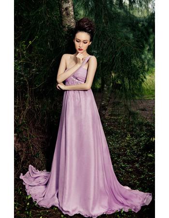 Attractive One Shoulder Chiffon Empire Floor Length Formal Evening Dresses