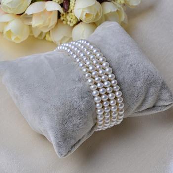 Elegant White 5mm Freshwater Natural Round Bridal Pearl Bracelets