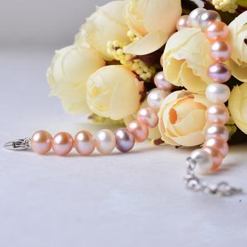 Multi Color 7-8mm Freshwater Natural Off-Round Bridal Pearl Bracelets