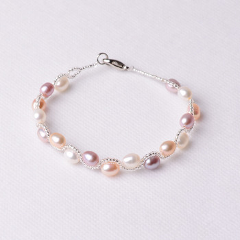 Affordable White 4mm Freshwater Natural Off-Round Pearl Bracelets