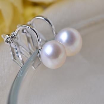 Stunning White Off-Round 7-8mm Freshwater Natural Pearl Earring Set