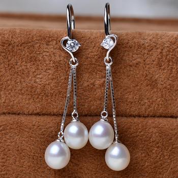 Elegant White Drop 7.5-8mm Freshwater Natural Pearl Earring Set