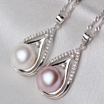 White/ Purple 10.5 - 11.5mm Off-Round Freshwater Natural Pearl Pendants