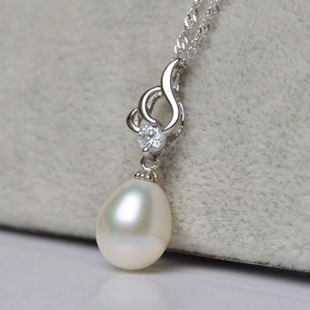 Elegant White 9 - 10mm Drop Freshwater Natural Pearl Pendants