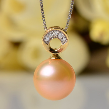 Stunning Golden Round 10 - 10.5mm Freshwater Natural Pearl Pendants