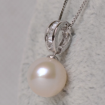 Gorgeous White Round 8.5-10.5mm Freshwater Natural Pearl Pendants