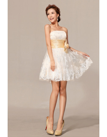 Simple Lace A-Line Strapless Short Beach Wedding Dresses with Shirred Detail