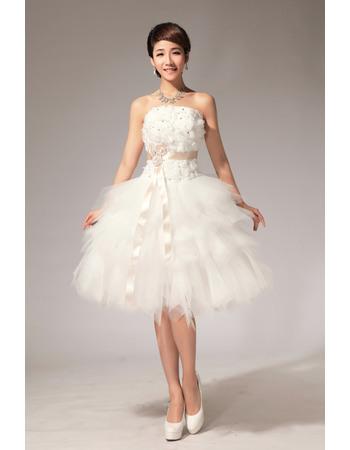 Morden Ball Gown Bubble Skirt Strapless Satin Tulle Short Dresses for Summer Beach Wedding