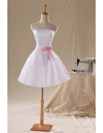 Custom Simple A-Line Strapless Short Beach Wedding Dresses with Sashes