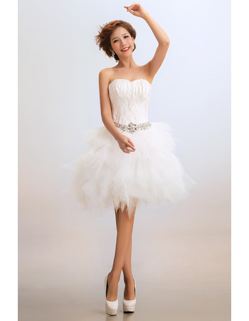 Amazing Bubble Skirt Sweetheart Satin Organza Short Beach Wedding Dresses