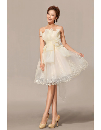 Pretty A-Line Strapless Organza Satin Knee Length Beach Wedding Dresses