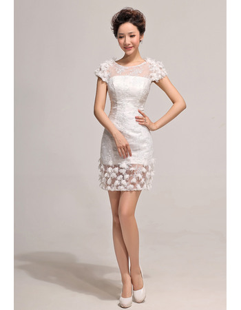 Perfect Sheath Short Sleeves Reception Lace Wedding Dresses with Petal Detailing