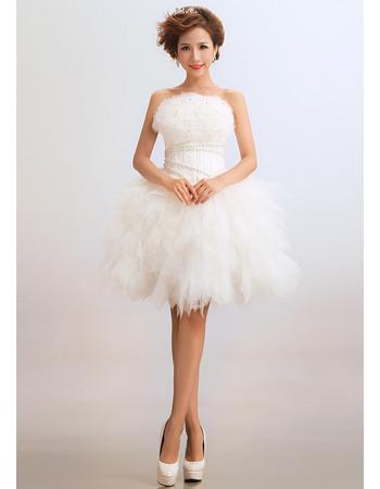 Affordble Ball Gown Strapless Satin Organza Short Beach Wedding Dresses