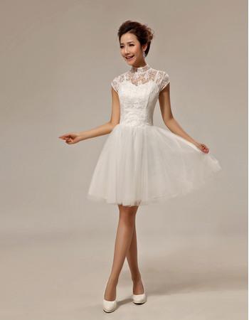 Custom A-Line Lace Mandarin Collar Cap Sleeves Short/ Mini Beach Wedding Dresses