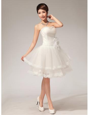 Inexpensive A-Line Sweetheart Organza Satin Short/ Mini Informal Beach Wedding Dresses