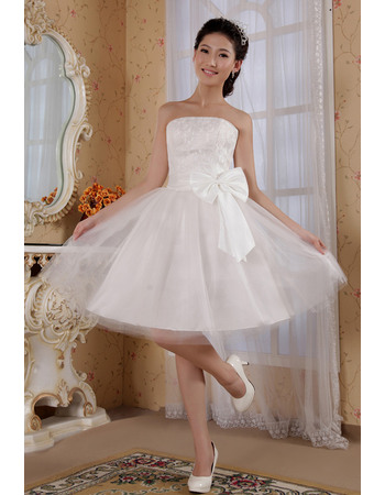 Excellent A-Line Strapless Knee Length Satin Organza Dresses for Summer Beach Wedding