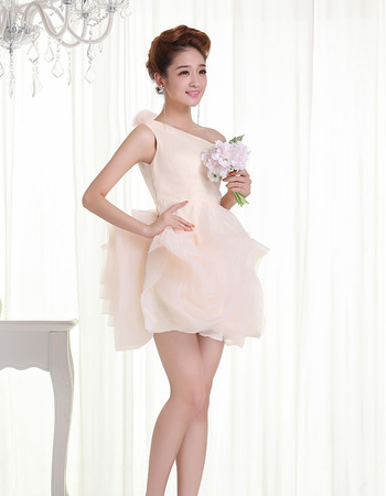 Modern One Shoulder Short Beach Organza Reception Wedding Dresses with Petal Element Skirt