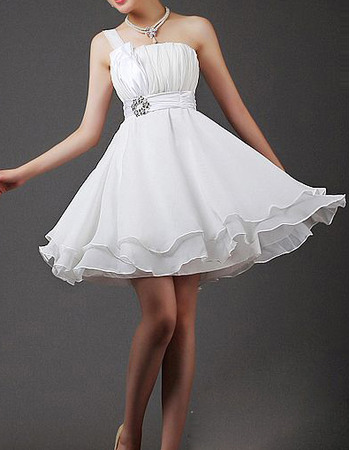 Simple One Shoulder Chiffon A-Line Short Reception Wedding Dresses with Ruched Bodice