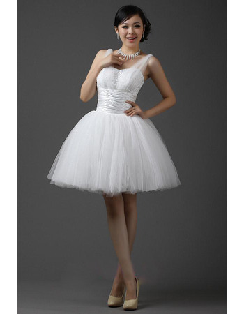 Beautiful Beading Appliques Bodice Ball Gown Satin Tulle Short Reception Wedding Dresses