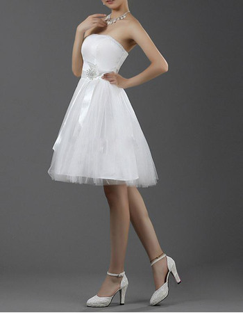 Inexpensive A-Line Beaded Strapless Satin Tulle Short Reception Wedding Dresses
