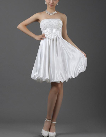 Cute A-Line Sequined Bodice Short Summer Beach Wedding Dresses with Bubble Skirt