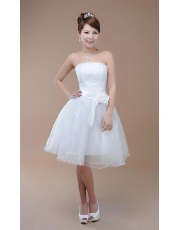 Simple A-Line Strapless Knee Length Beach Organza Wedding Dresses