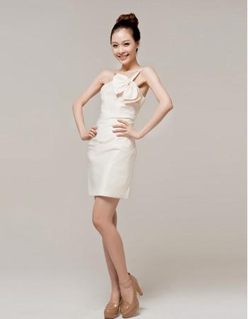Romantic One Shoulder Column Satin Short Dresses for Summer Beach Wedding