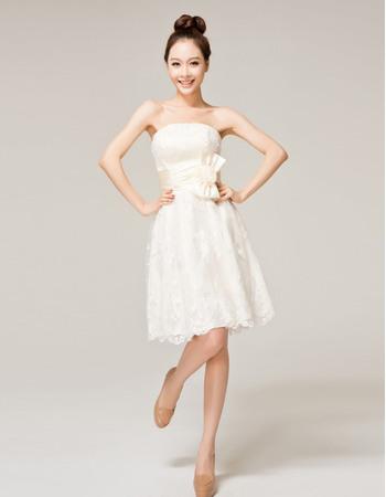 Gorgeous Lace Strapless A-Line Short Beach Wedding Dresses