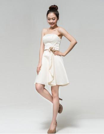 Classy Lace Column/ Sheath Half Sleeves Short Beach Wedding Dresses with Cascading Ruffle side