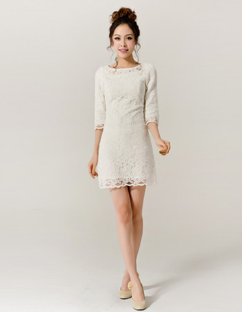 Classy Lace Sleeved Column/ Sheath Short Beach Wedding Dresses. U003e