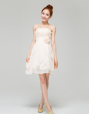 Custom Chiffon Strapless A-Line Short Beach Wedding Dresses